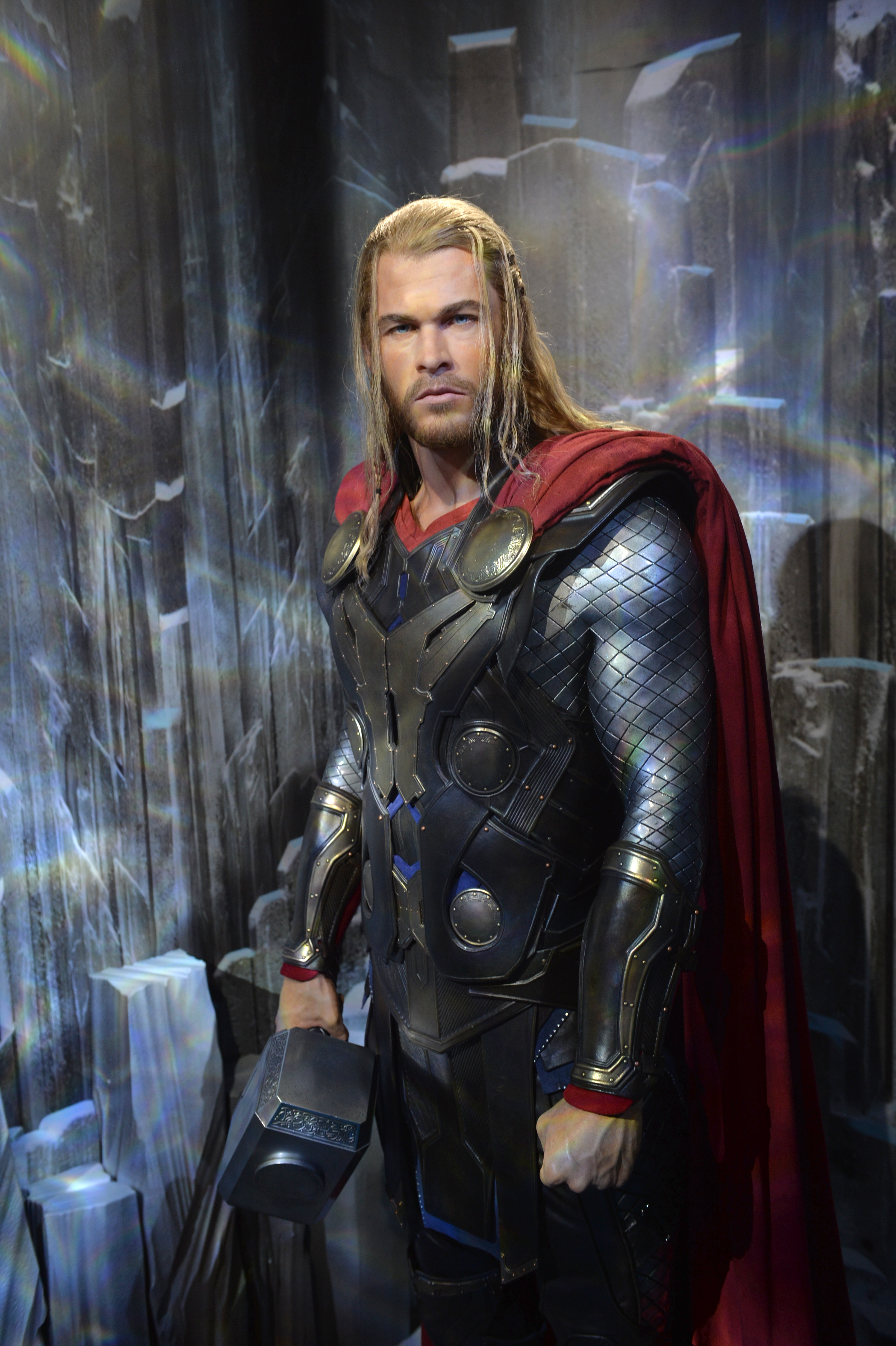 Thor wax figure holding his hammer at Madame Tussauds Blackpool
