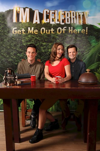 Gemma Atkinson with Ant & Dec wax figures for the I'm A Celebrity set at Madame Tussauds Blackpool