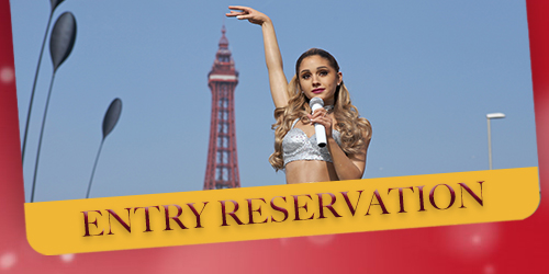 Ariana Grande wax figure in front of the Blackpool Tower