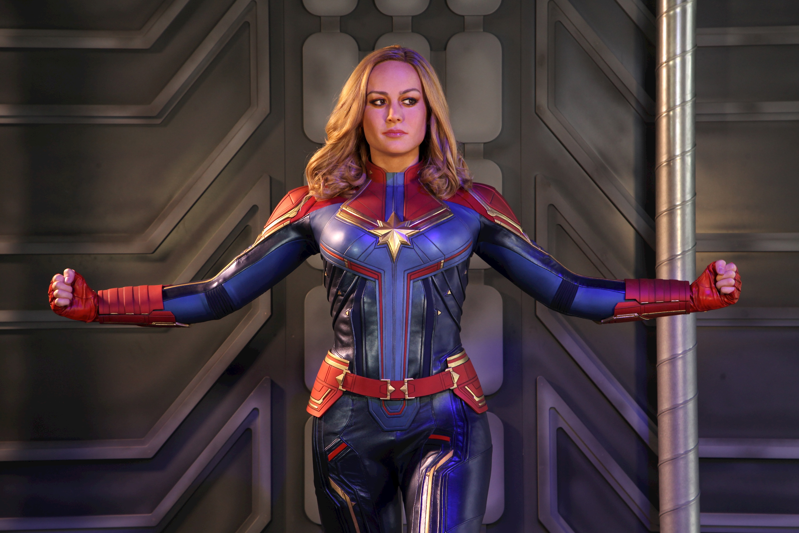 Captain Marvel with her arms out wax figure at Madame Tussauds Blackpool