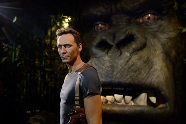 Colossal Kong next to Tom Hiddleston's figure