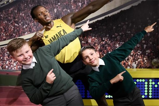 Students with Usain Bolt's figure