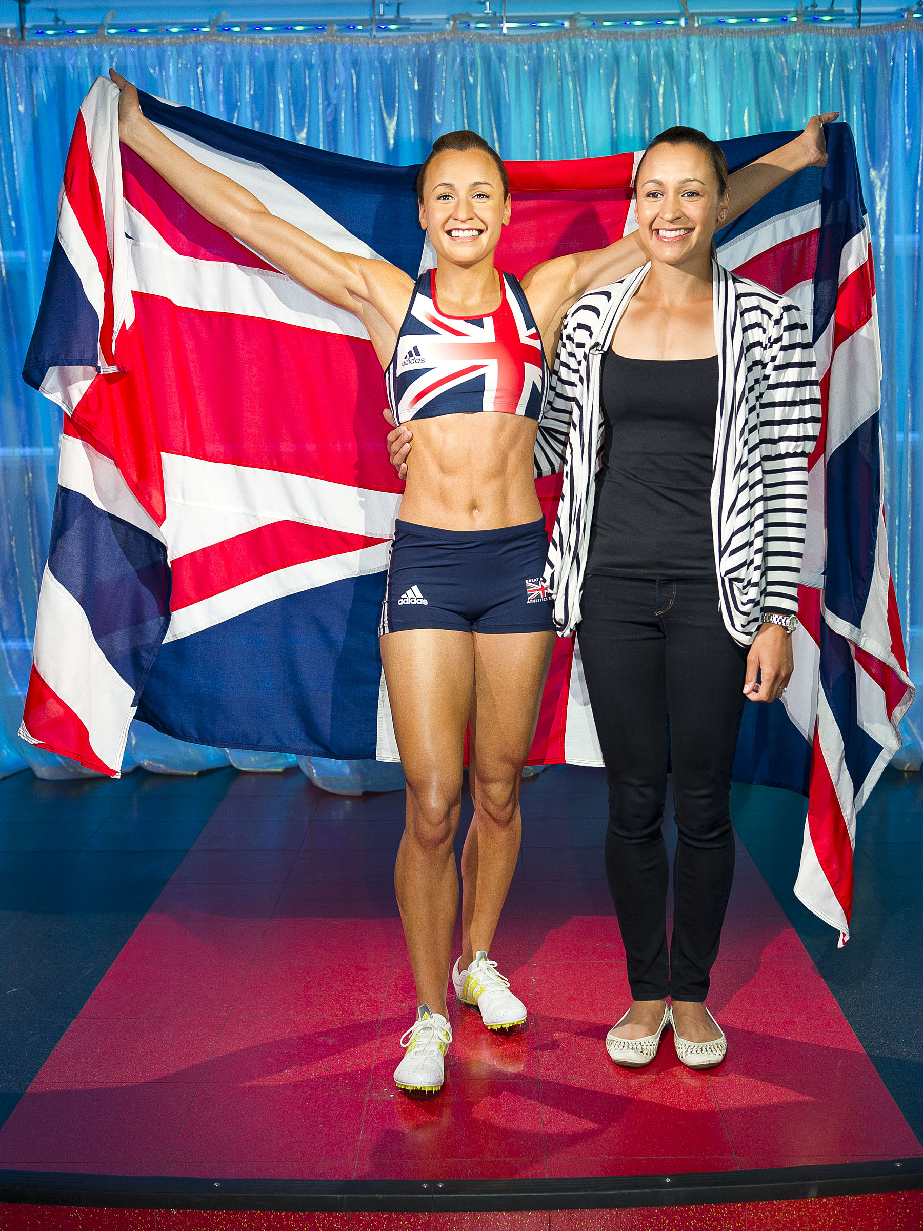 Jessica Ennis-Hill with her figure at Madame Tussauds