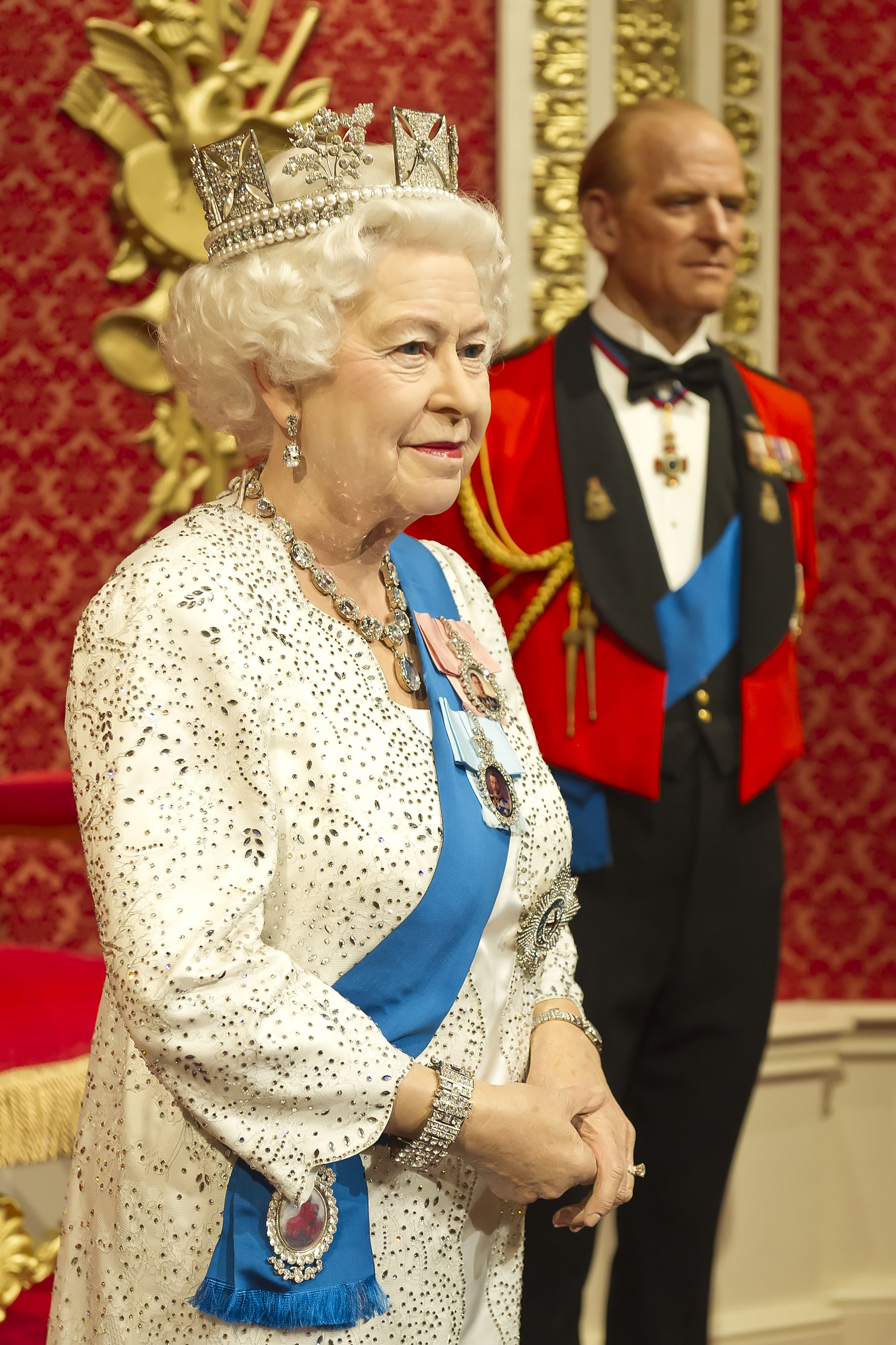 Queen Elizabeth II figure with Duke of Edinburgh at Madame Tussauds