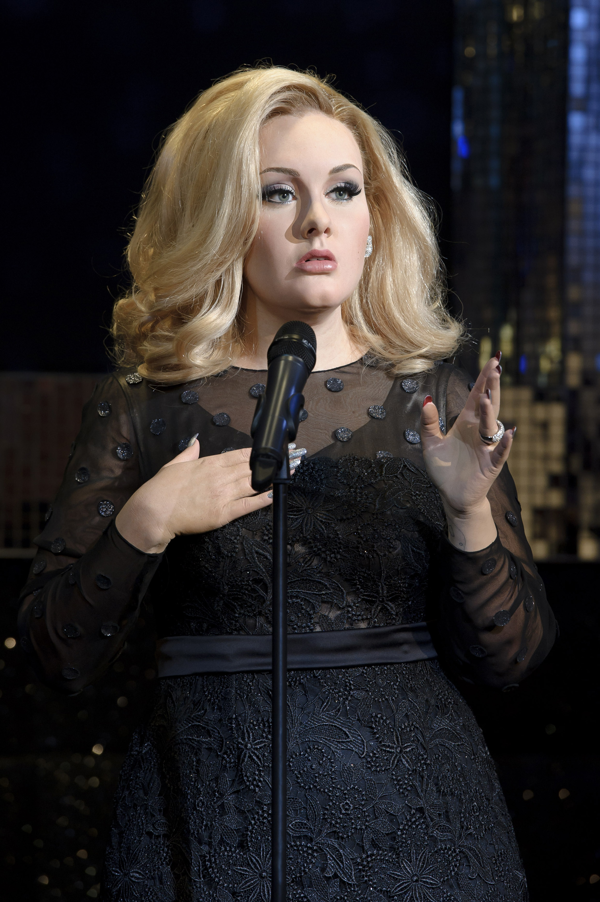 Close up of Adele figure at Madame Tussauds London