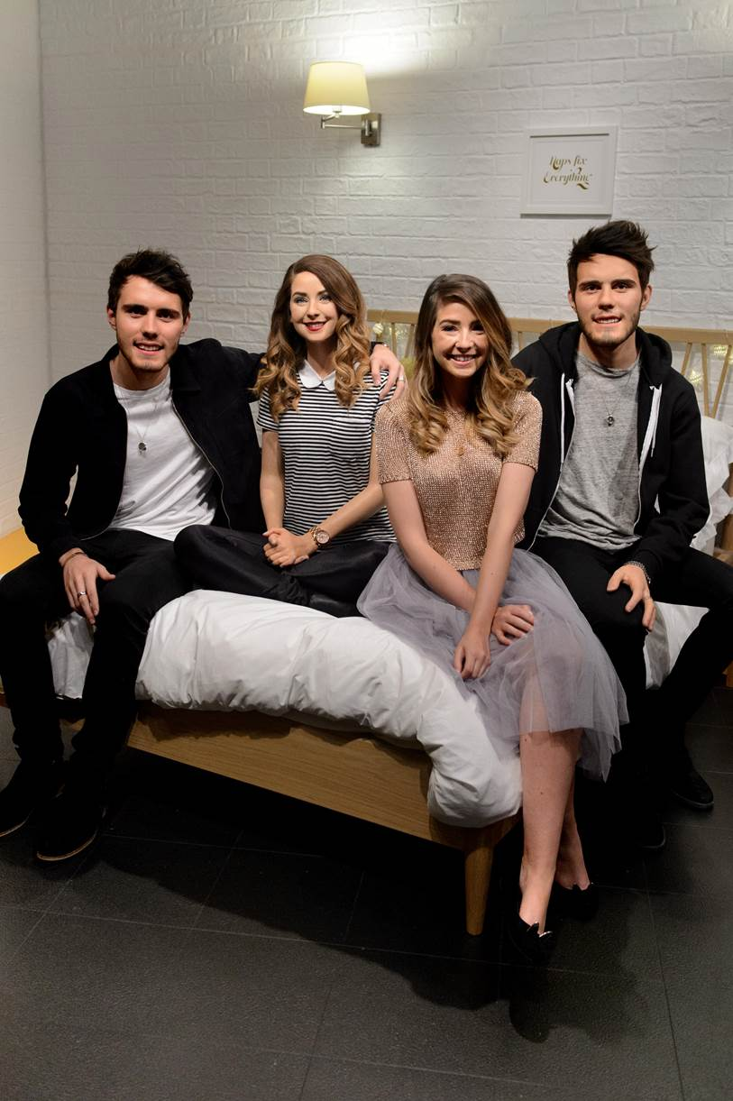 Zoella & Alfie with their figures