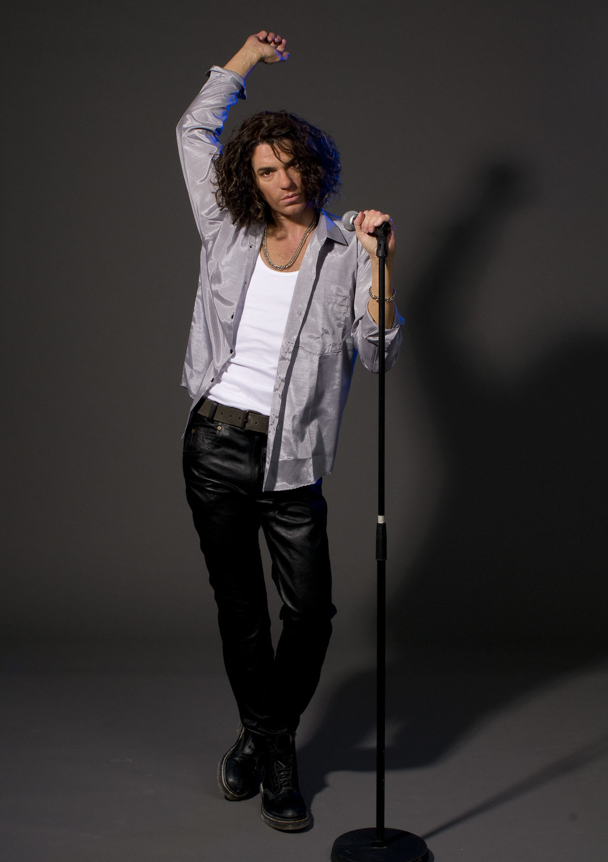 Michael Hutchence wax work and microphone